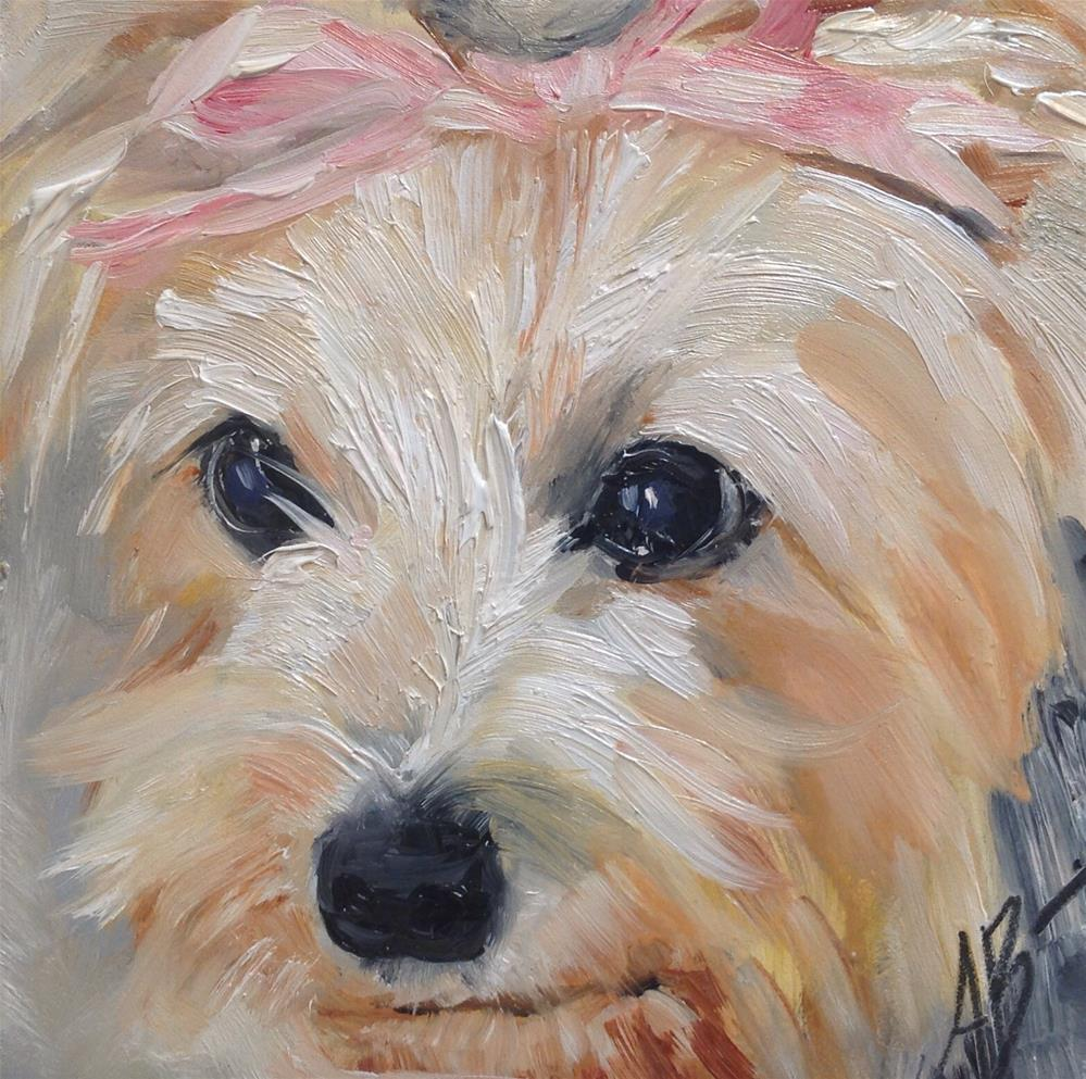 """Molly's pink bow"" original fine art by Annette Balesteri"