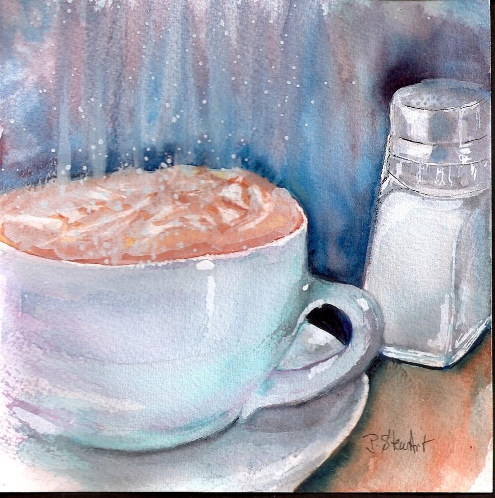 """""""6x6 Cuppa Joe Fancy Hot Coffee Whipped Cream Watercolor Penny StewArt"""" original fine art by Penny Lee StewArt"""