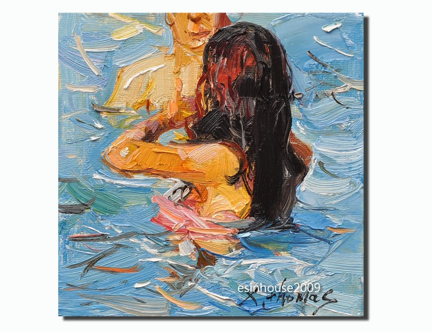 """Swimming girl"" original fine art by Thomas Xie"