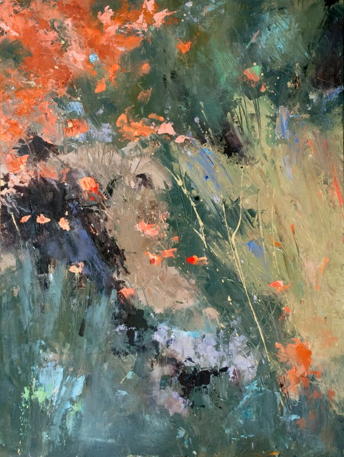 """KMA2847 Textures of Fall abstraction by Colorado artist Kit Hevron Mahoney (24x18, oil, abstract, ab"" original fine art by Kit Hevron Mahoney"