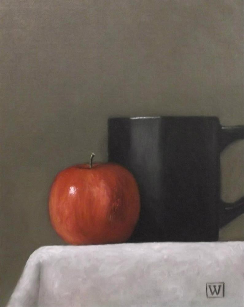 """Apple and cup"" original fine art by Joe Wojdakowski"