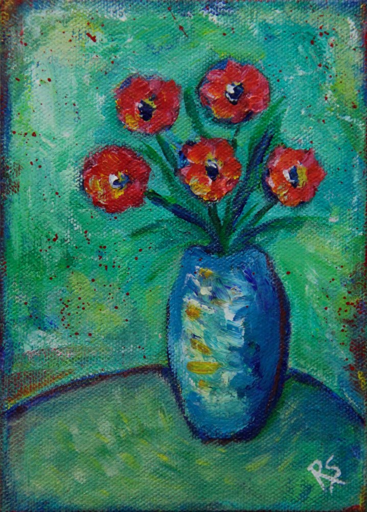 """Five Flowers"" original fine art by Roberta Schmidt"