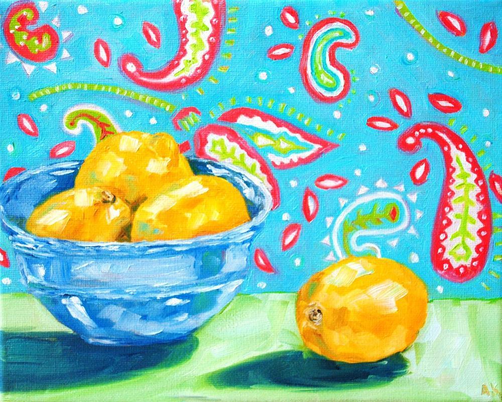 """Paisley Lemons"" original fine art by Alison Kolkebeck"