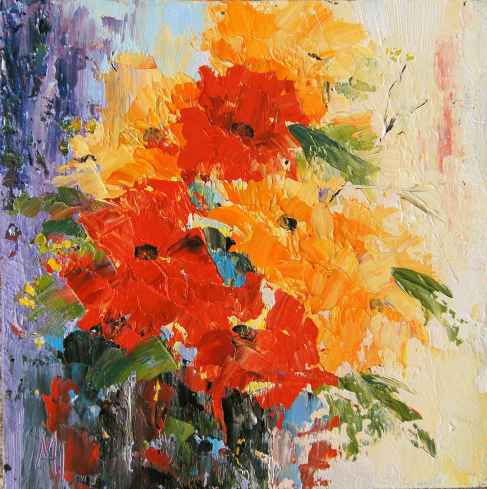"""""""Abstract Flower 4 palette knife painting"""" original fine art by Marion Hedger"""