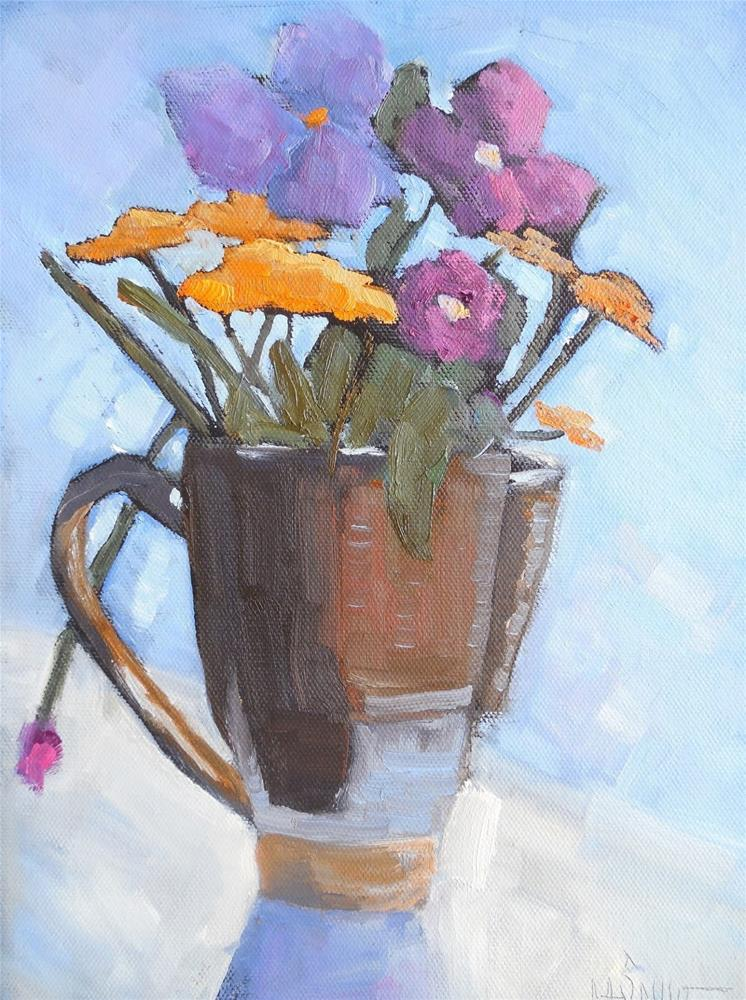 """Small Floral Still Life. Daily Painting, Small Oil Painting, Flower Painting, 9x12x.75 Oil"" original fine art by Carol Schiff"
