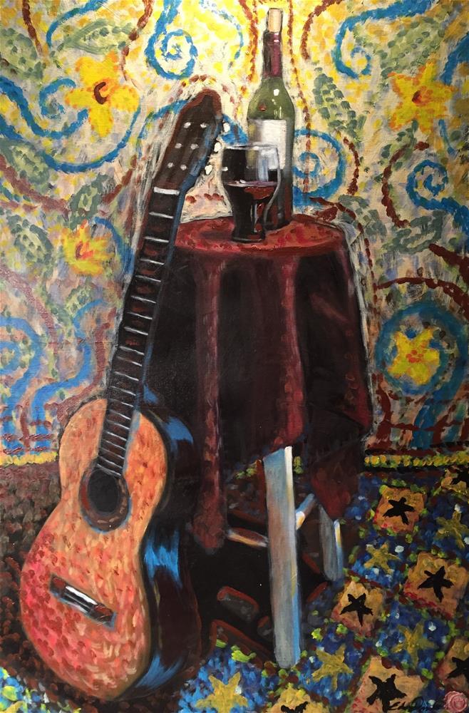 """""""Guitar practice"""" original fine art by Eduardo Posadas"""