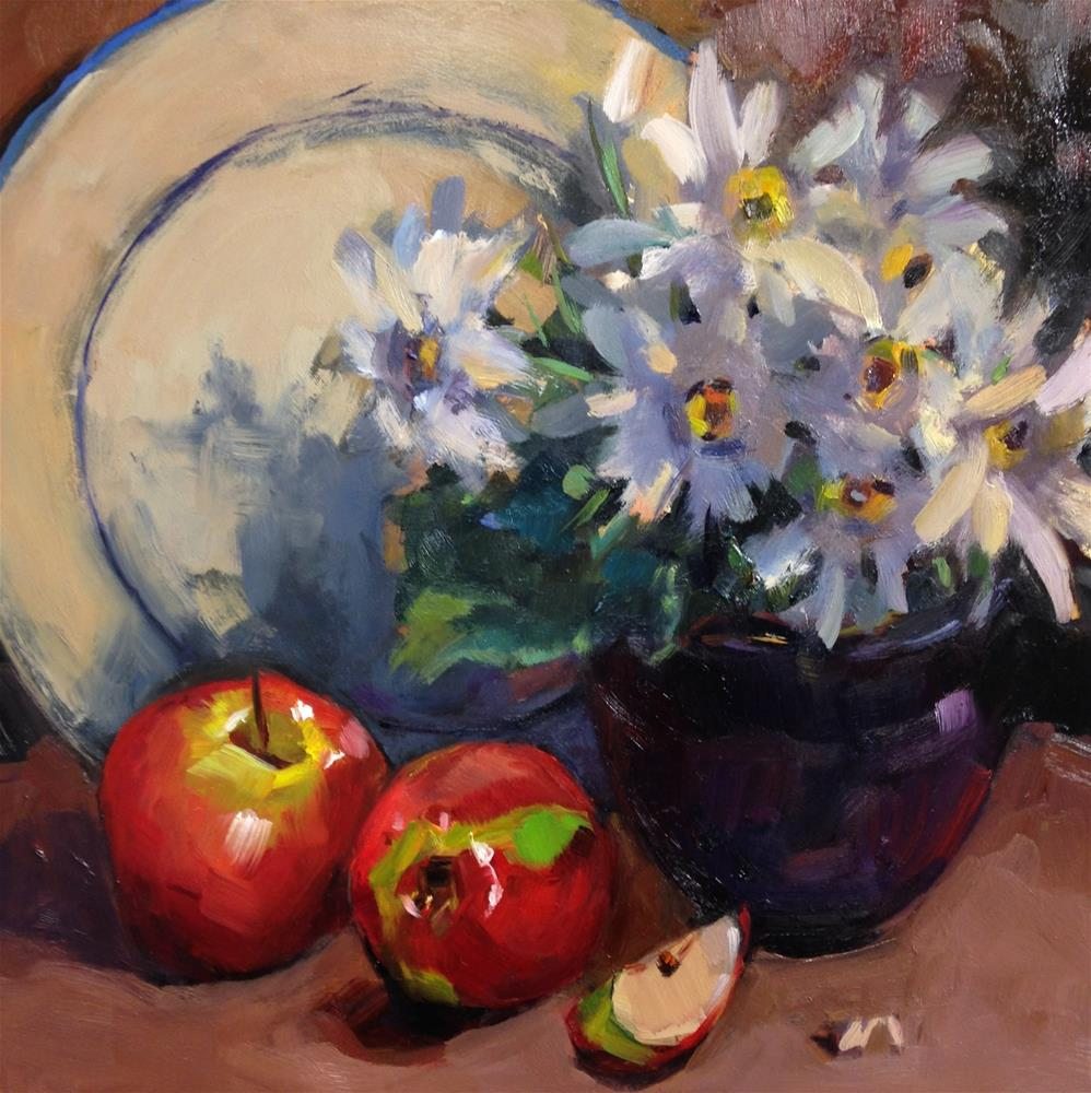 """Daisies and Apples"" original fine art by Laurie Johnson Lepkowska"