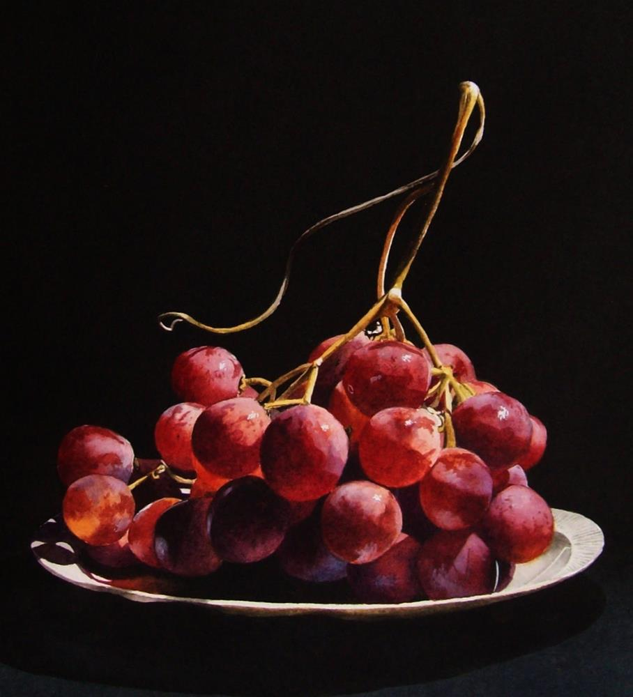 """Red Globe Grapes 2 (Framed)"" original fine art by Jacqueline Gnott, whs"