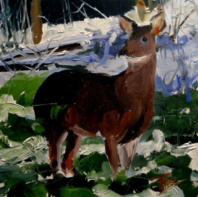 """""""Winter Deer  oil painting"""" original fine art by Robin Weiss"""