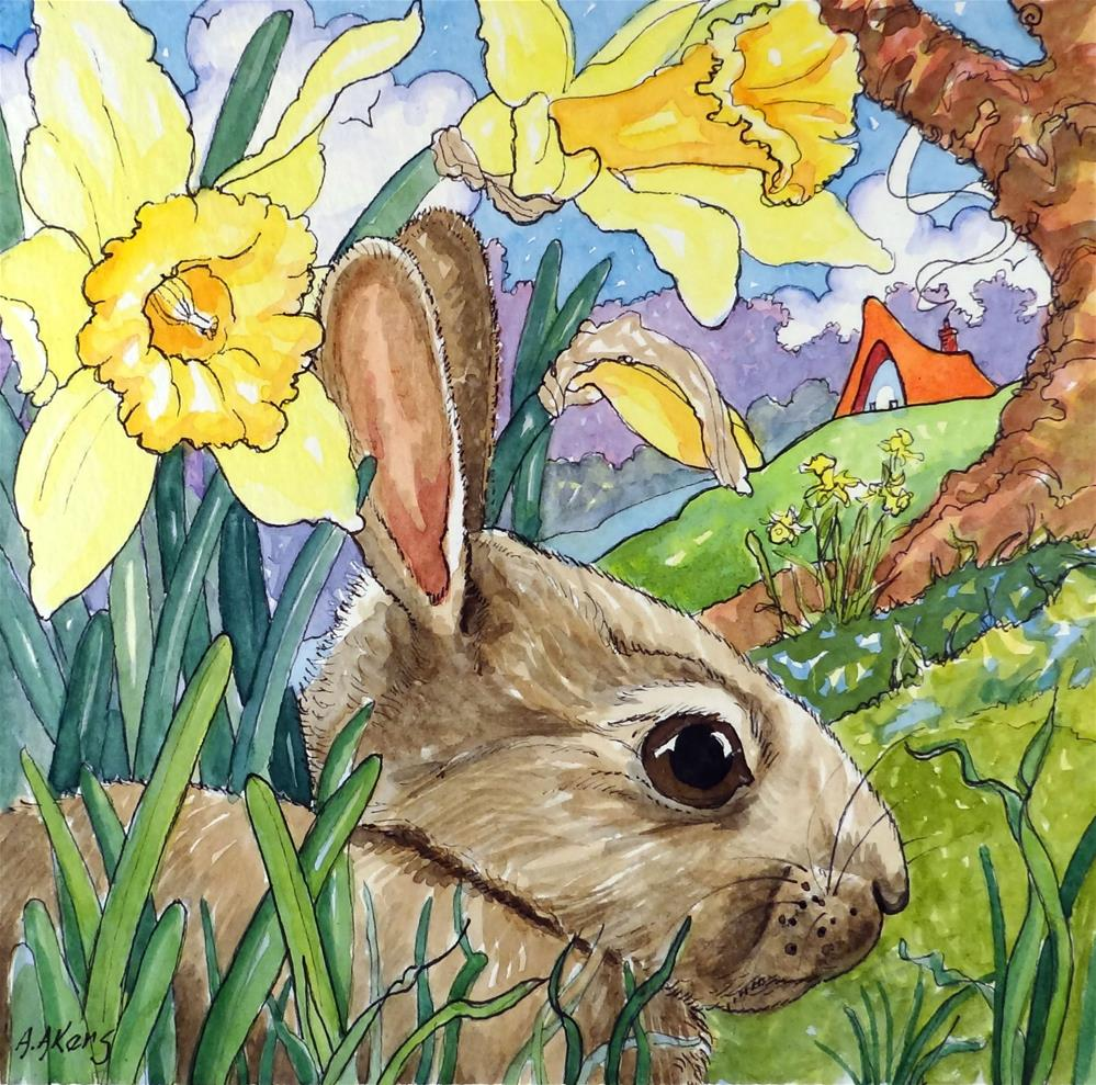 """""""Baby in the Buttercups Storybook Cottage Series"""" original fine art by Alida Akers"""