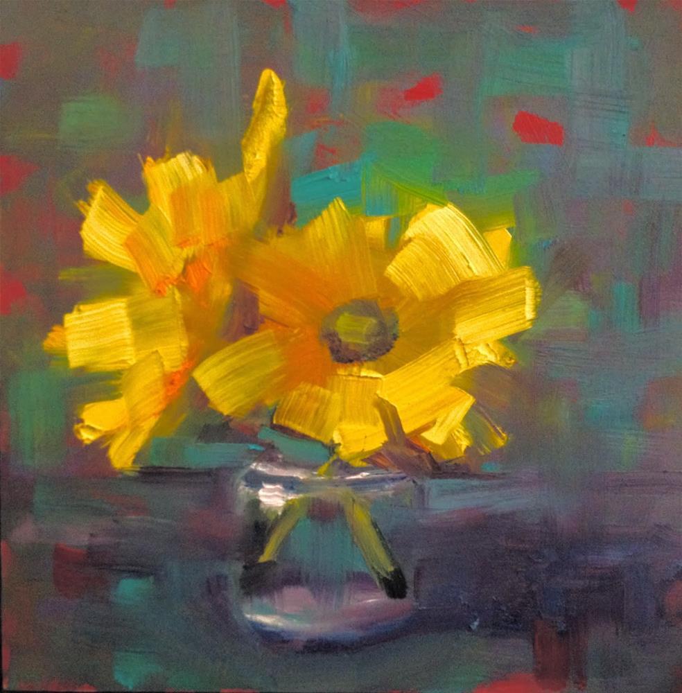 """Gerber Jar Daisies, 6x6"" original fine art by Ann Feldman"