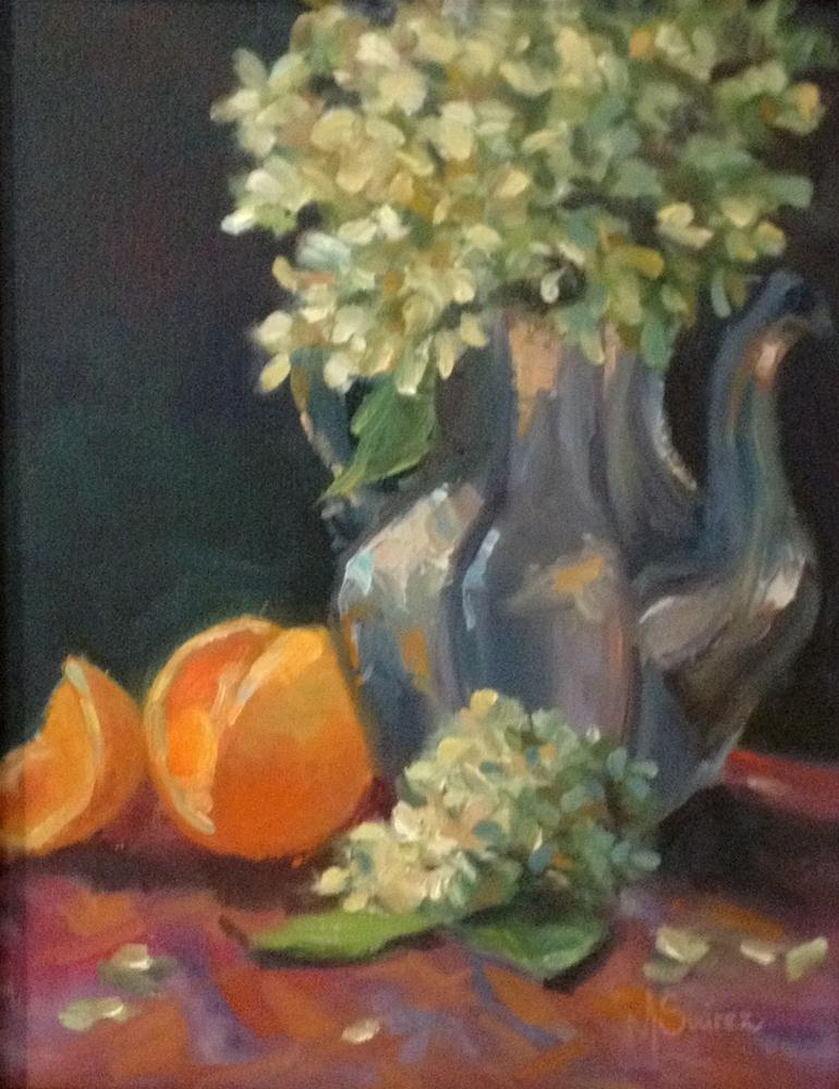 """Oranges and Hydrangeas"" original fine art by Marta L Suarez"