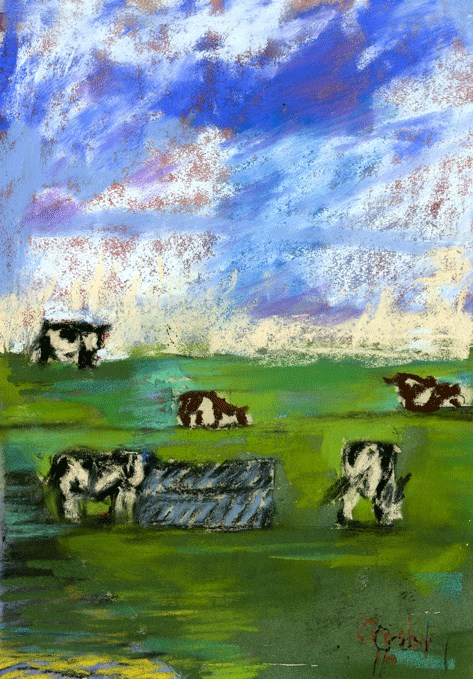 """Dinner For Five"" original fine art by Donna Crosby"