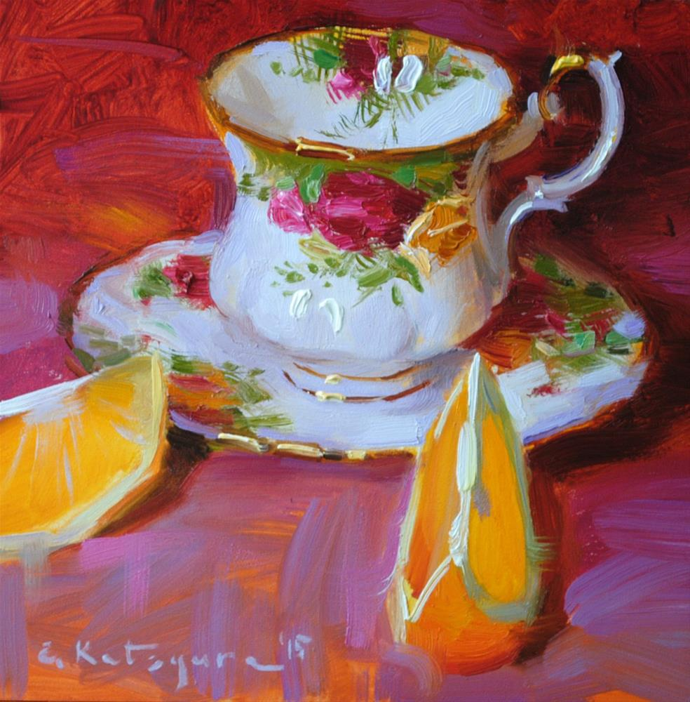 """Rose Cup and Oranges"" original fine art by Elena Katsyura"