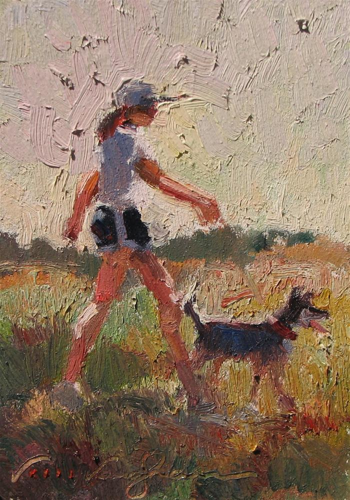 """Bright Morning Walk"" original fine art by V.... Vaughan"