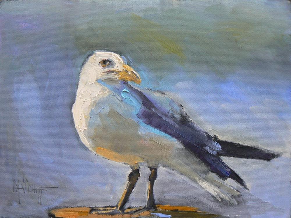 """Daily Painting, Oil, The Gull, 6x8"" original fine art by Carol Schiff"