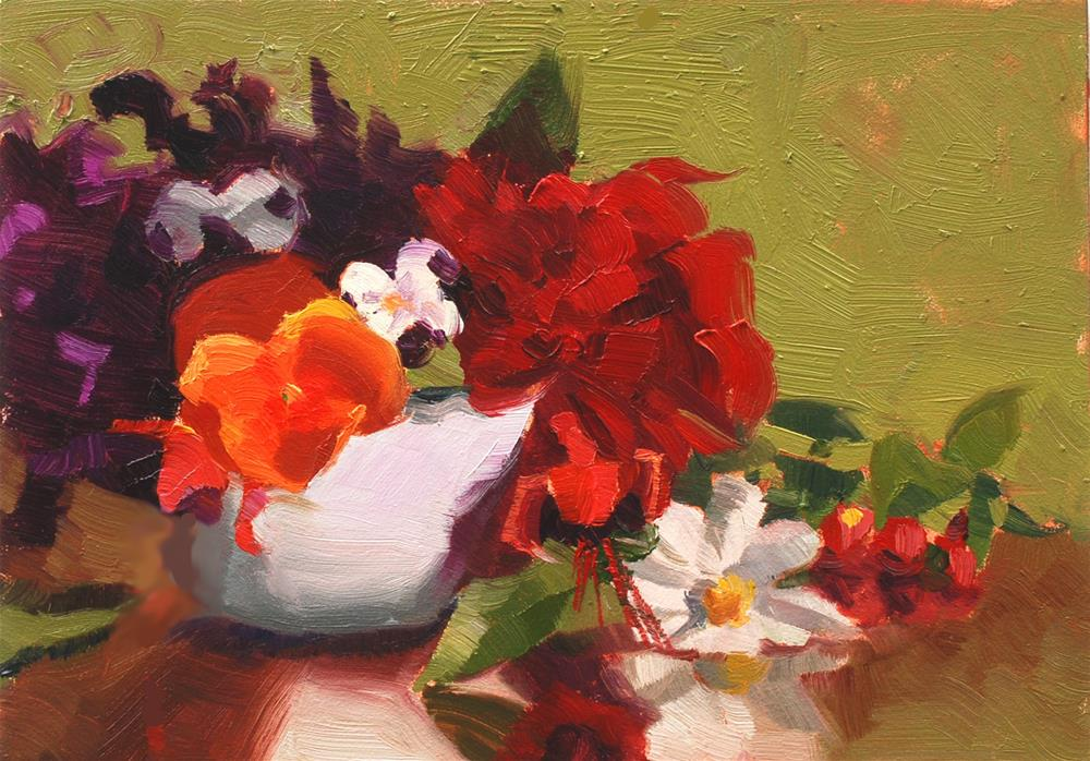 """Teacup Bouquet 4"" original fine art by Susan McManamen"