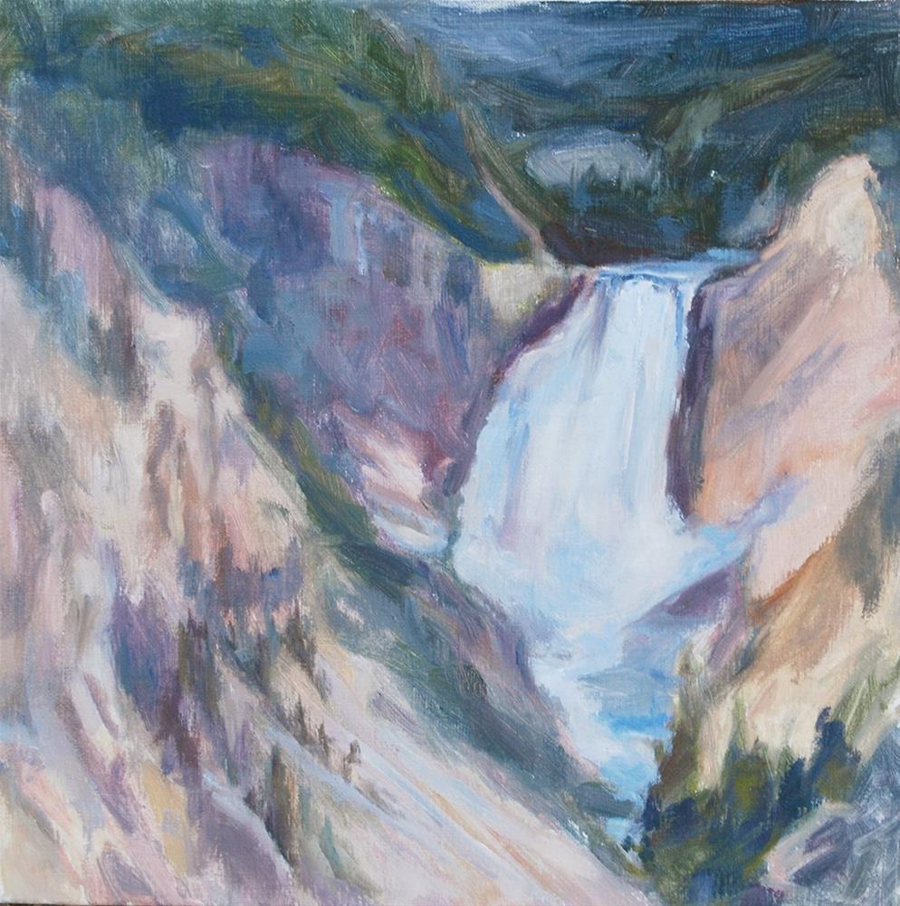 """Yellowstone Cascade"" original fine art by Carol DeMumbrum"