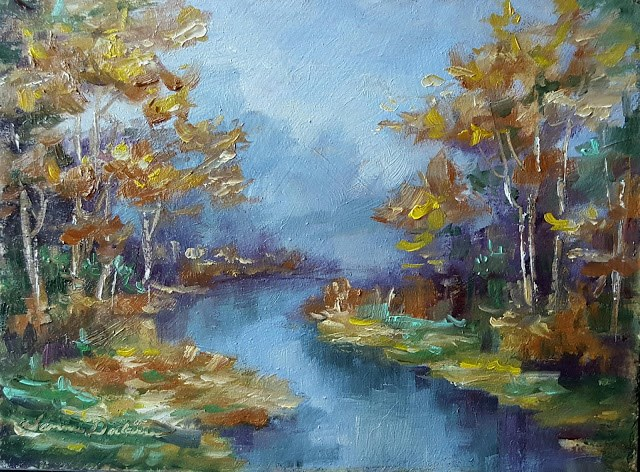 """Autumn Stream"" original fine art by Tammie Dickerson"