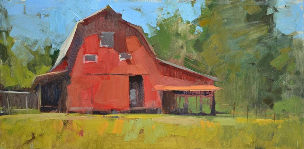 """Red, Red Barn"" original fine art by Carol Marine"