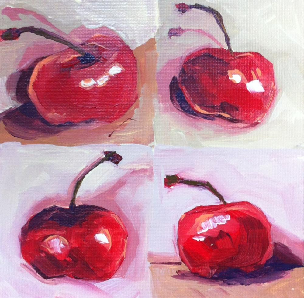"""Cherry Squares"" original fine art by Teddi Parker"