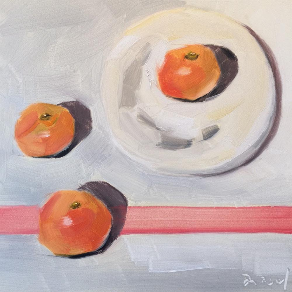 """344 Tangerine Trio"" original fine art by Jenny Doh"