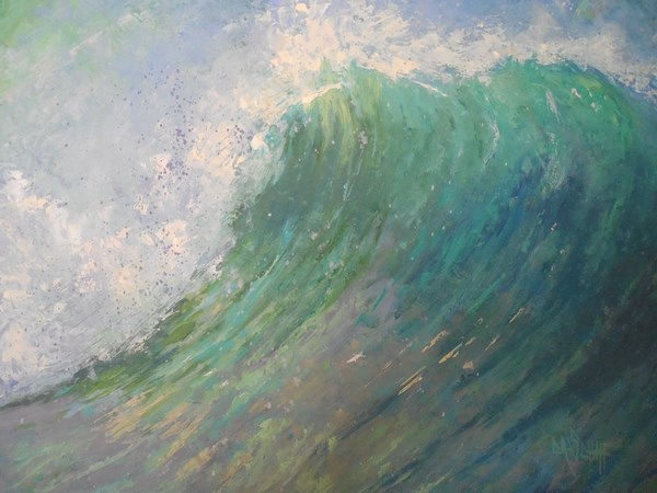 """Seascape Oil Painting, Daily Painting, Wave Painting, Wall of Water 16x20x.75 Oil"" original fine art by Carol Schiff"