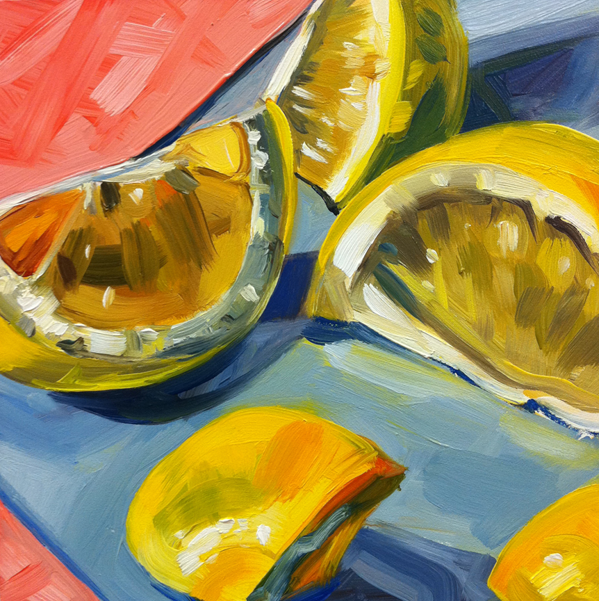 """Lemons and Pink Paper"" original fine art by Katy O'Connor"