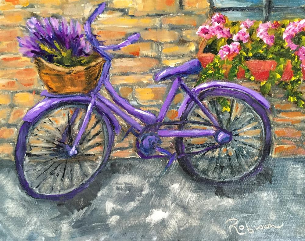 """Lavender Bike"" original fine art by Renee Robison"