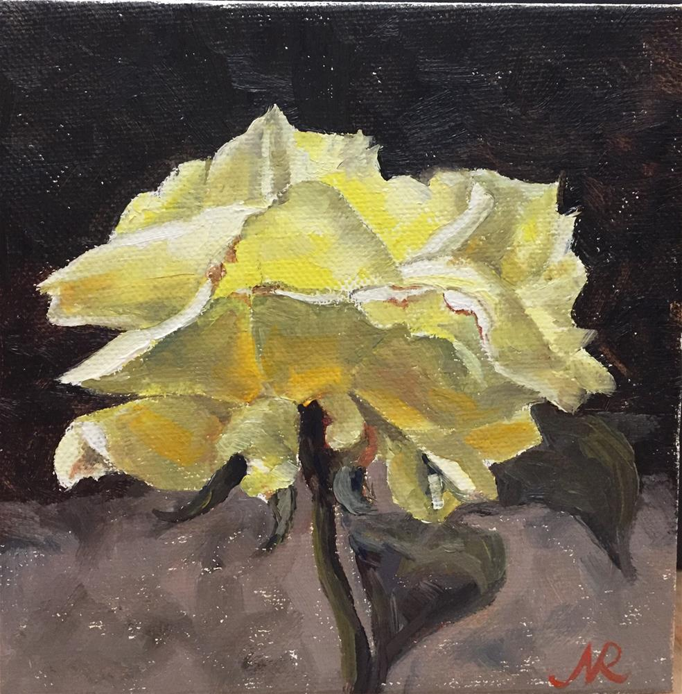 """Yellow rose"" original fine art by Natasha Ramras"