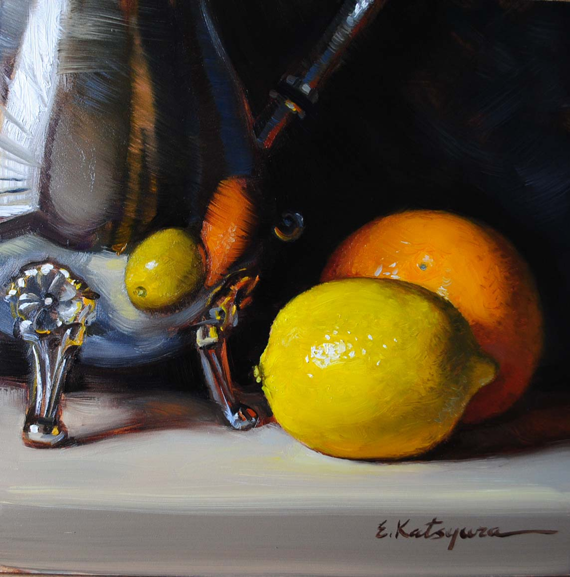 """Silver, Lemon & Orange"" original fine art by Elena Katsyura"