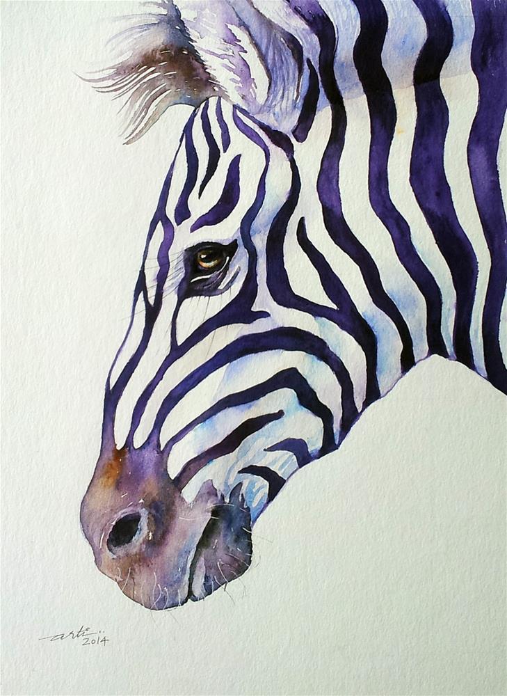 """Suave Zebra Portrait"" original fine art by Arti Chauhan"