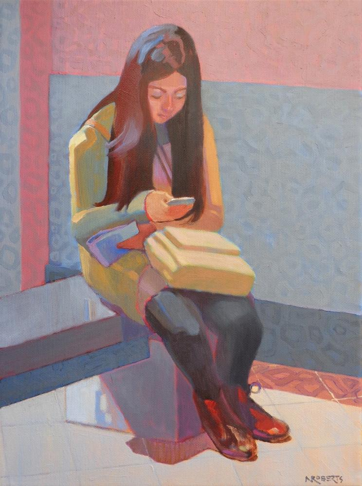 """Texting at the Louvre"" original fine art by Nancy Roberts"