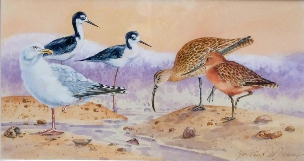 """""""Shore birds I, framed"""" original fine art by Jean Pierre DeBernay"""