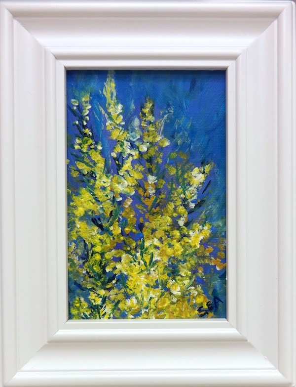 """2082 - Wattle - White Frame"" original fine art by Sea Dean"