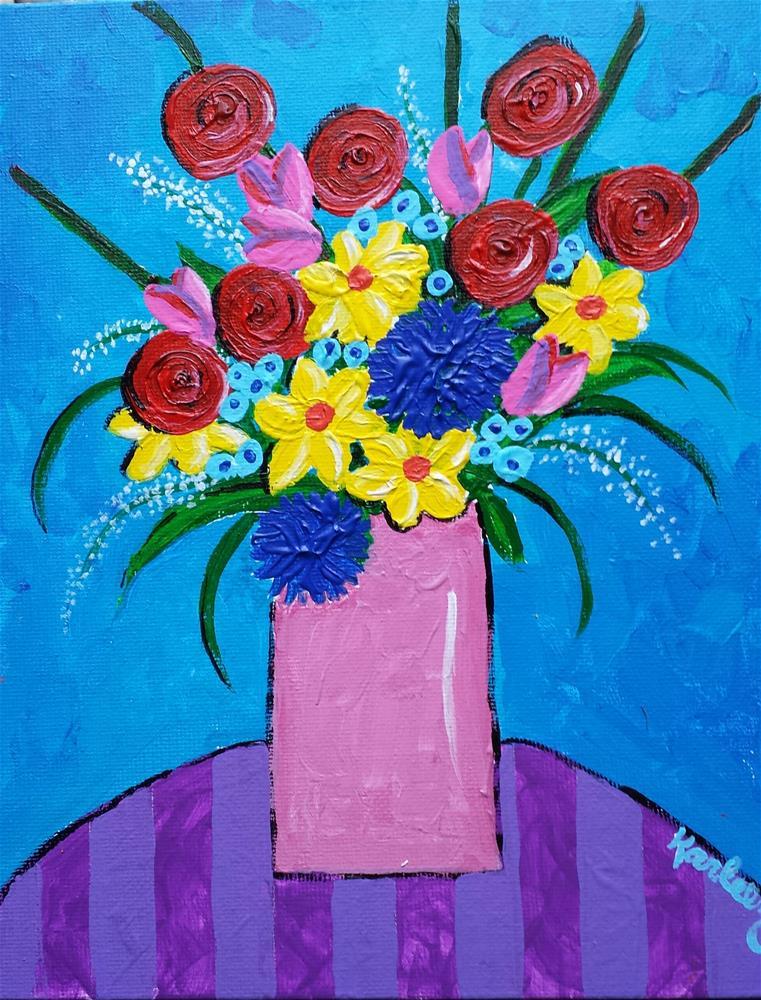 """Pink Vase"" original fine art by Karleen Kareem"