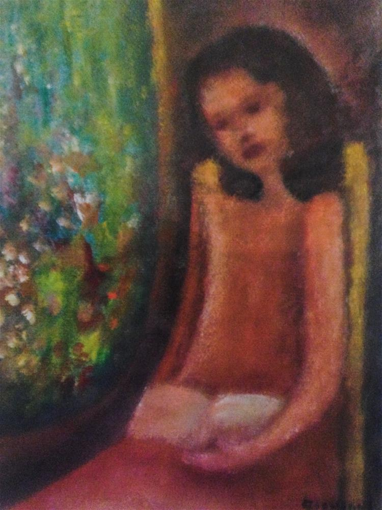 """Girl by the window (Reading) with view to the garden"" original fine art by Giovanni Antunez"
