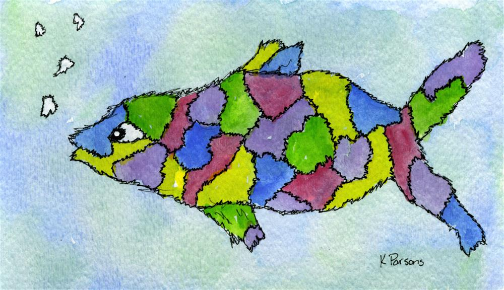 """Patchwork Fish"" original fine art by Kali Parsons"