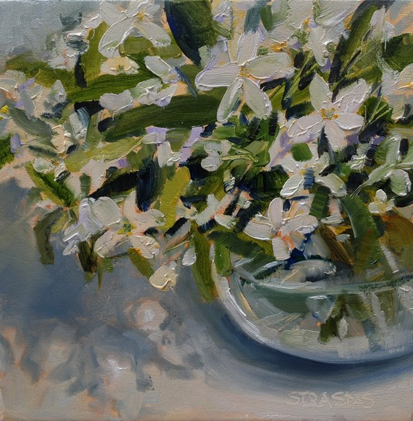 """White Flowers"" original fine art by Marcela Strasdas"