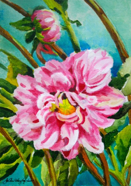 """Last of the Dahlias"" original fine art by JoAnne Perez Robinson"