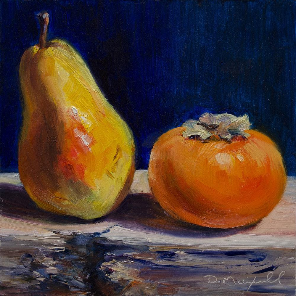 """Pear and Persimmon"" original fine art by Denise Maxwell"