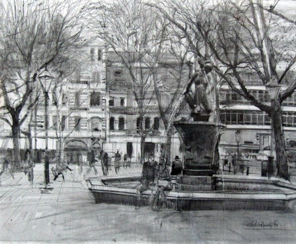 """Grey Day Winter Morning, Sloane Square"" original fine art by Adebanji Alade"
