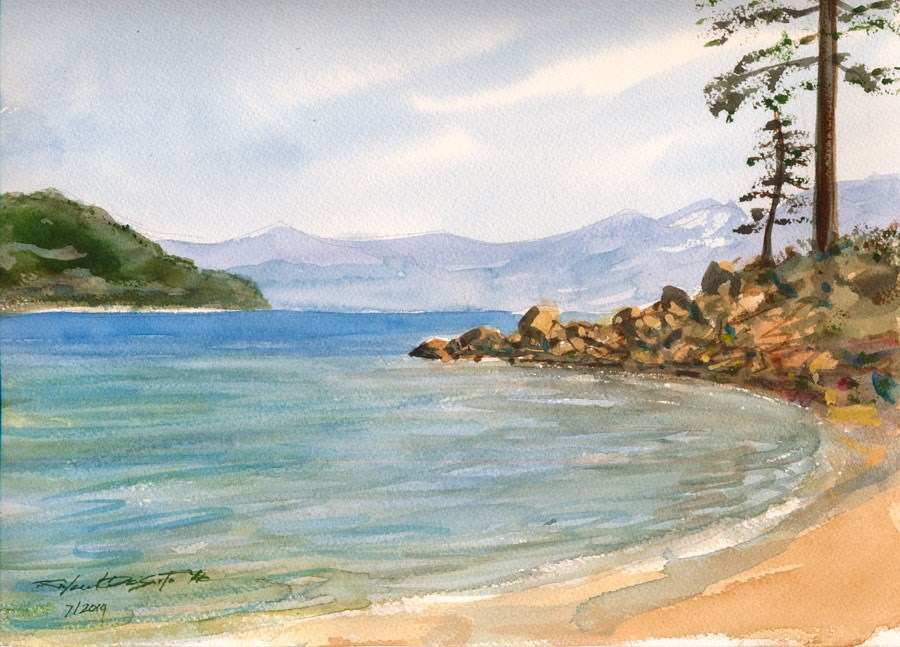 """Summer Tahoe Shore"" original fine art by Rafael DeSoto Jr."
