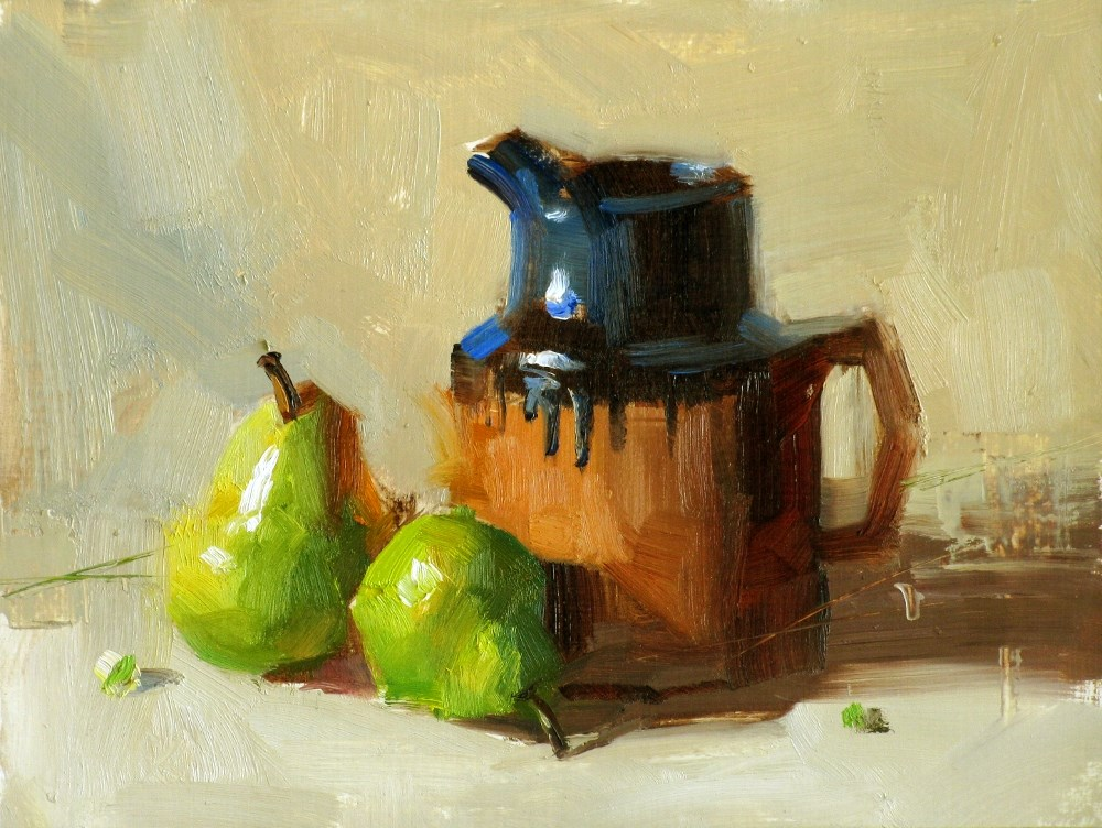 """Pot and Pears"" original fine art by Qiang Huang"
