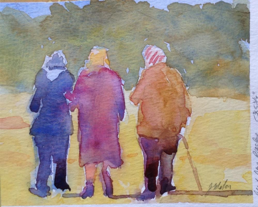"""Three old ladies"" original fine art by Joseph  Mahon"