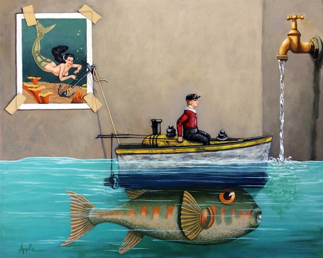 """Anyfin Is Possible - Fisherman toy boat and Mermaid whimsical storyteller still life painting"" original fine art by Linda Apple"
