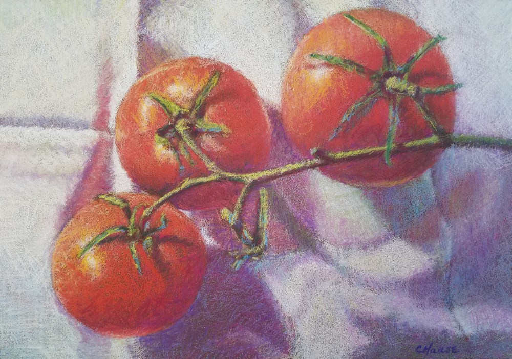 """Three Tomatoes"" original fine art by Cindy Haase"