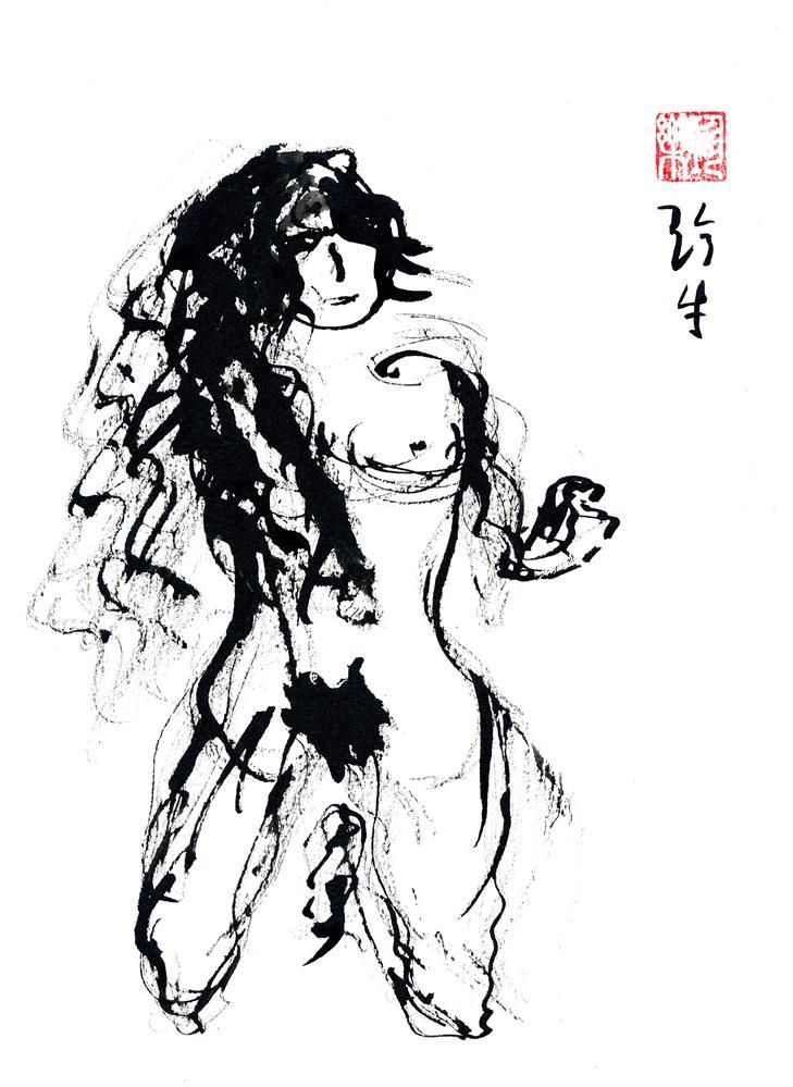 """""""Kneeling Figure"""" original fine art by Janet Gunderson"""