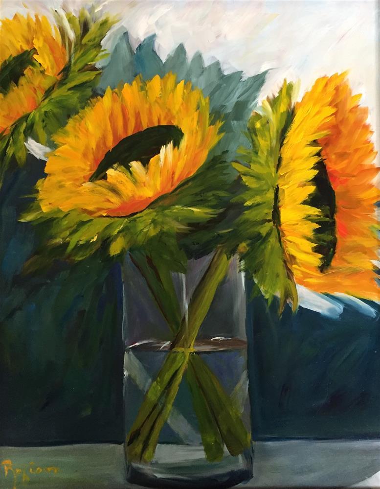 """""""Sunflower Trio"""" original fine art by Renee Robison"""