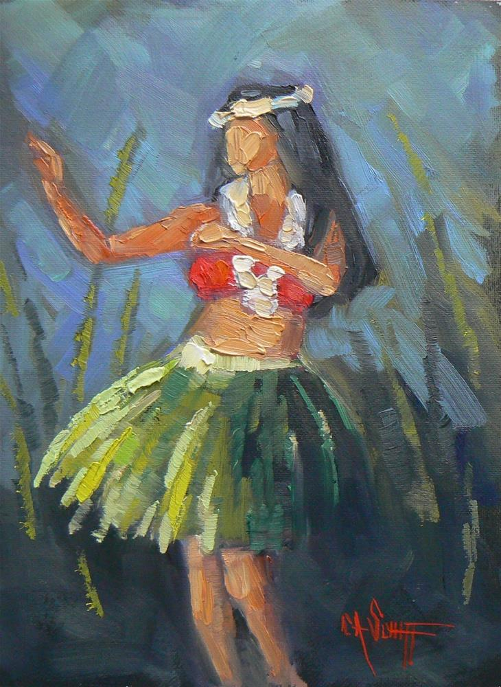 """Hula Dancer Painting, Daily Painting , Figurative Painting, Hawaiian Dancer by Carol Schiff, Free Sh"" original fine art by Carol Schiff"